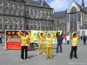 Falungong practitioners on Dam Square, Amsterdam, Netherlands