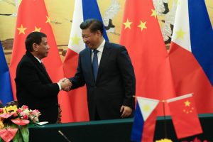President Rodrigo Roa Duterte and People's Republic of China President Xi Jinping shake hands to conclude a successful bilateral meeting at the Great Hall of the People in Beijing on October 20. Photo by Toto Lozano/PPD
